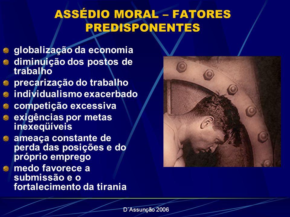 D´Assunção 2006 ASSÉDIO MORAL – FATORES PREDISPONENTES globalização da economia diminuição dos postos de trabalho precarização do trabalho individuali