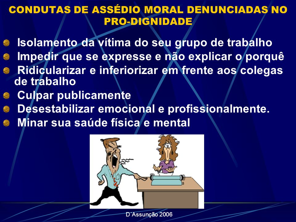 D´Assunção 2006 CONDUTAS DE ASSÉDIO MORAL DENUNCIADAS NO PRO-DIGNIDADE Isolamento da vítima do seu grupo de trabalho Impedir que se expresse e não exp