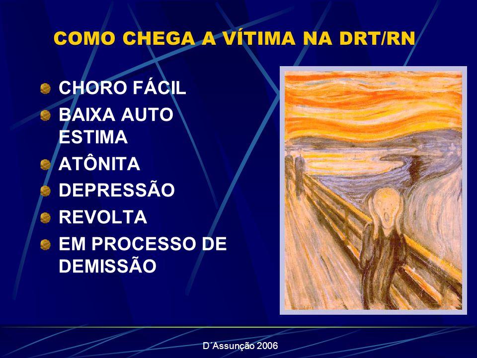 D´Assunção 2006 COMO CHEGA A VÍTIMA NA DRT/RN CHORO FÁCIL BAIXA AUTO ESTIMA ATÔNITA DEPRESSÃO REVOLTA EM PROCESSO DE DEMISSÃO