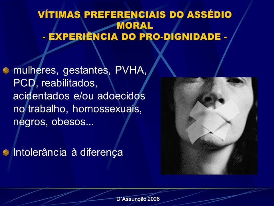D´Assunção 2006 VÍTIMAS PREFERENCIAIS DO ASSÉDIO MORAL - EXPERIÊNCIA DO PRO-DIGNIDADE - mulheres, gestantes, PVHA, PCD, reabilitados, acidentados e/ou