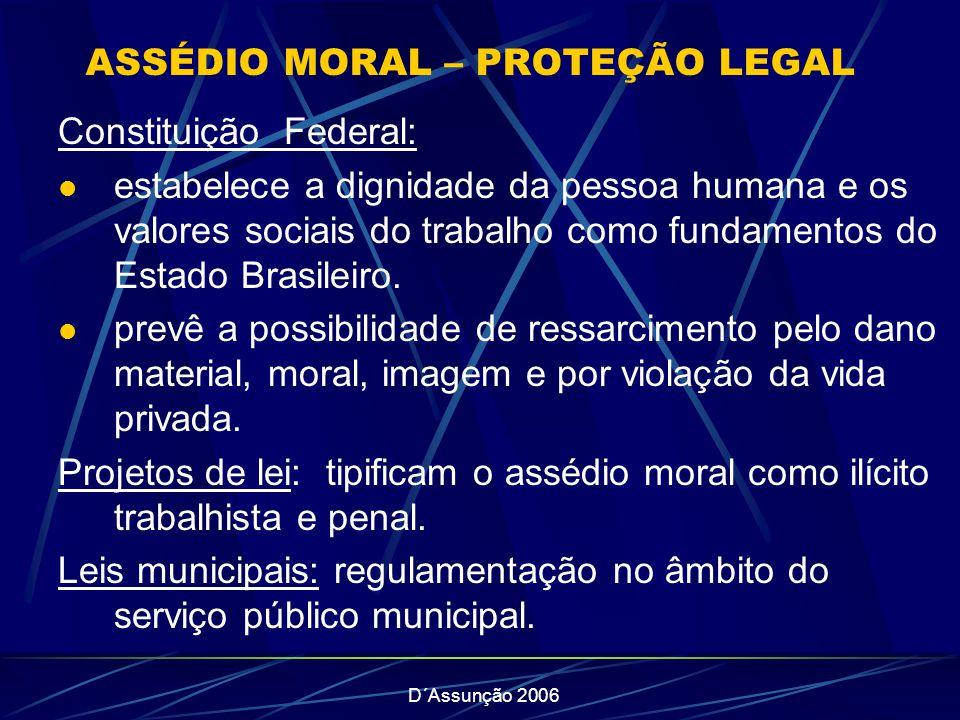 D´Assunção 2006 ASSÉDIO MORAL – PROTEÇÃO LEGAL Constituição Federal: estabelece a dignidade da pessoa humana e os valores sociais do trabalho como fundamentos do Estado Brasileiro.