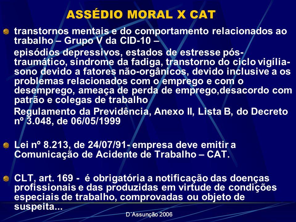 D´Assunção 2006 ASSÉDIO MORAL X CAT transtornos mentais e do comportamento relacionados ao trabalho – Grupo V da CID-10 – episódios depressivos, estad