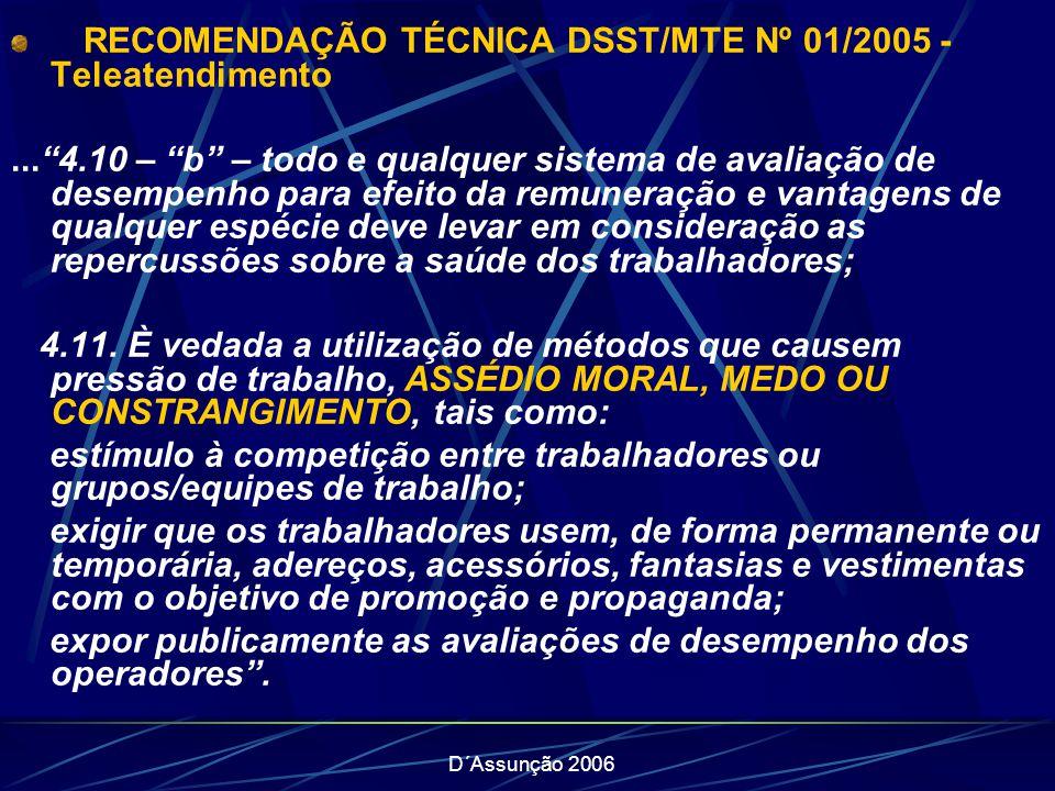 D´Assunção 2006 RECOMENDAÇÃO TÉCNICA DSST/MTE Nº 01/2005 - Teleatendimento...4.10 – b – todo e qualquer sistema de avaliação de desempenho para efeito