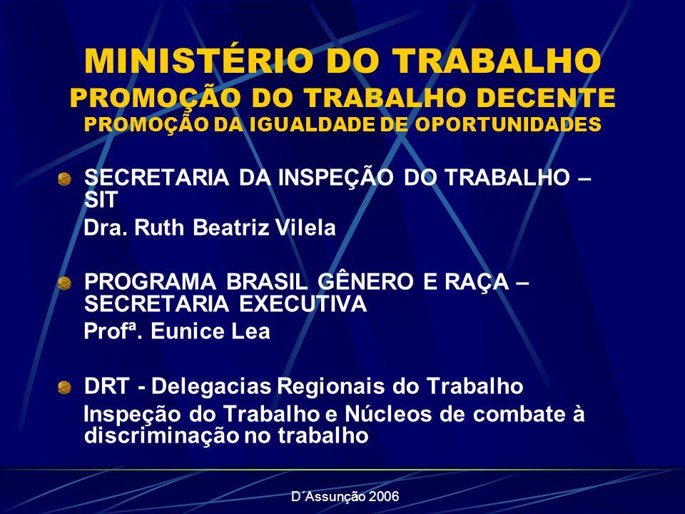D´Assunção 2006 MINISTÉRIO DO TRABALHO PROMOÇÃO DO TRABALHO DECENTE PROMOÇÃO DA IGUALDADE DE OPORTUNIDADES SECRETARIA DA INSPEÇÃO DO TRABALHO – SIT Dra.