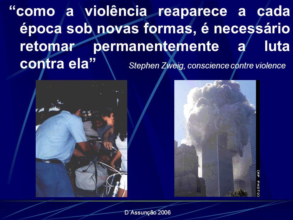 D´Assunção 2006 como a violência reaparece a cada época sob novas formas, é necessário retomar permanentemente a luta contra ela Stephen Zweig, conscience contre violence