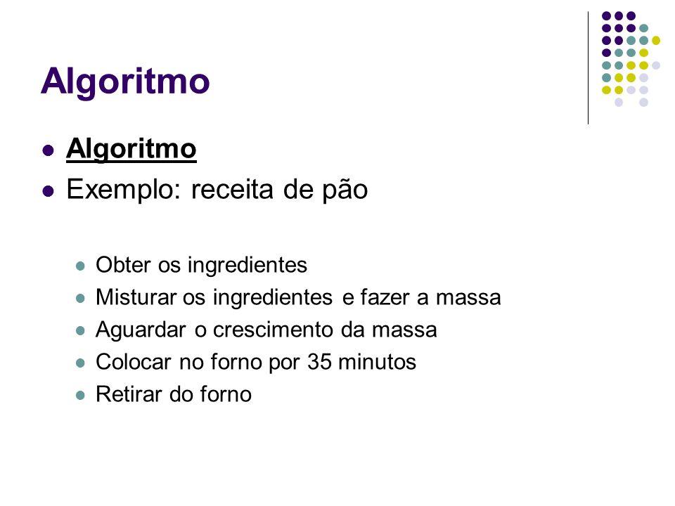 Algoritmo Exemplo: receita de pão Obter os ingredientes Misturar os ingredientes e fazer a massa Aguardar o crescimento da massa Colocar no forno por 35 minutos Retirar do forno