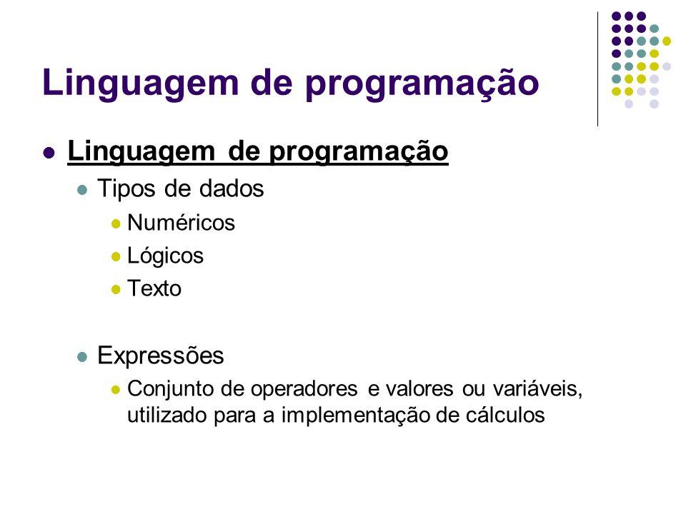 Linguagem de programação Tipos de dados Numéricos Lógicos Texto Expressões Conjunto de operadores e valores ou variáveis, utilizado para a implementação de cálculos