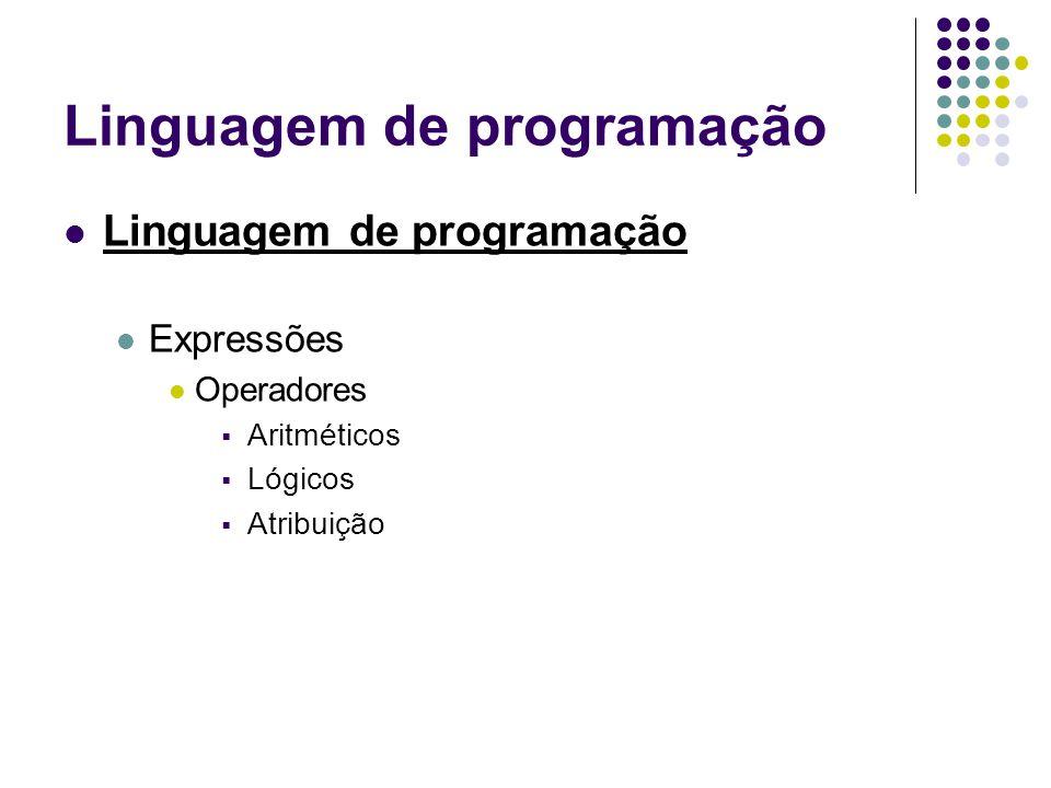 Linguagem de programação Expressões Operadores Aritméticos Lógicos Atribuição