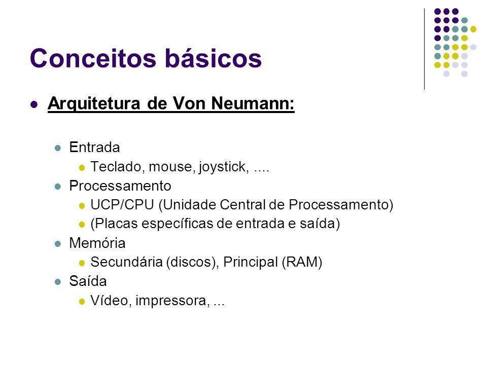 Conceitos básicos Arquitetura de Von Neumann: Entrada Teclado, mouse, joystick,....