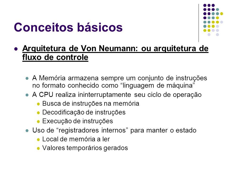 Conceitos básicos Arquitetura de Von Neumann: ou arquitetura de fluxo de controle A Memória armazena sempre um conjunto de instruções no formato conhecido como linguagem de máquina A CPU realiza ininterruptamente seu ciclo de operação Busca de instruções na memória Decodificação de instruções Execução de instruções Uso de registradores internos para manter o estado Local de memória a ler Valores temporários gerados
