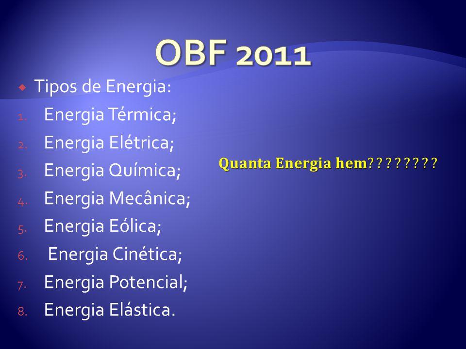Tipos de Energia: 1.Energia Térmica; 2. Energia Elétrica; 3.