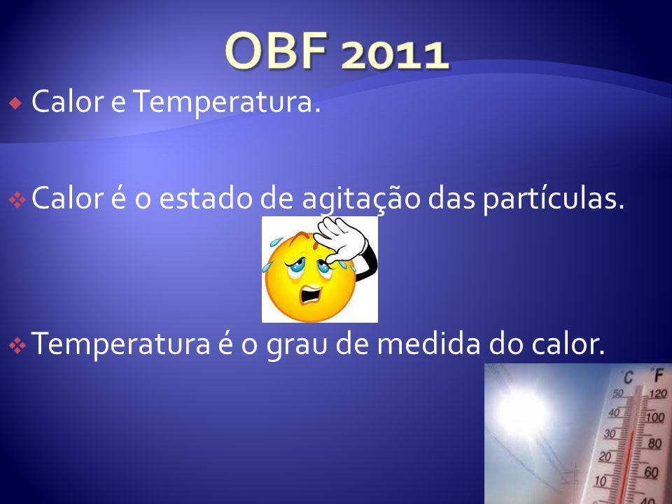 Calor e Temperatura.Calor é o estado de agitação das partículas.