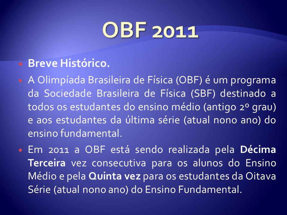 Objetivos Gerais da Olímpiada OBF 2011 é um programa da SBF – Sociedade Brasileira de Física.