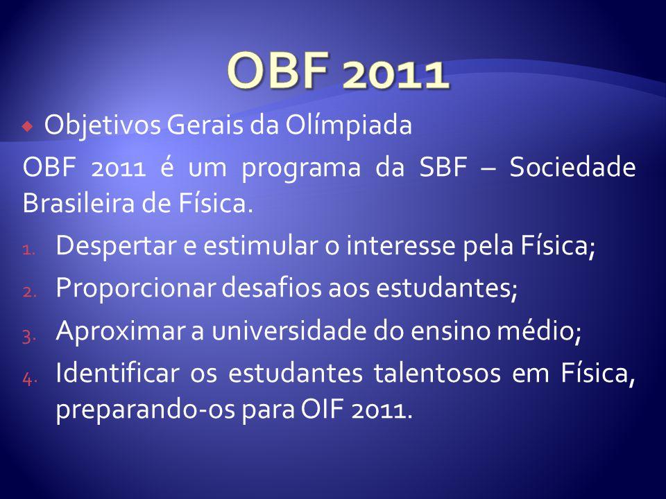 Fases da Olímpiada A Olimpíada Brasileira de Física(OBF) é realizada em três fases: 1.