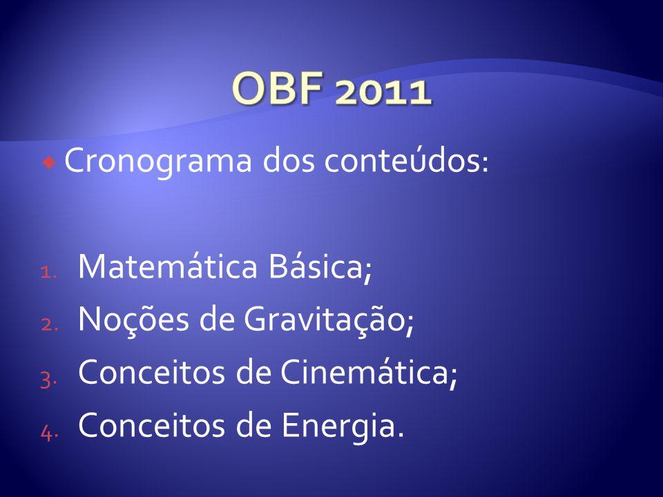 Cronograma dos conteúdos: 1.Matemática Básica; 2.