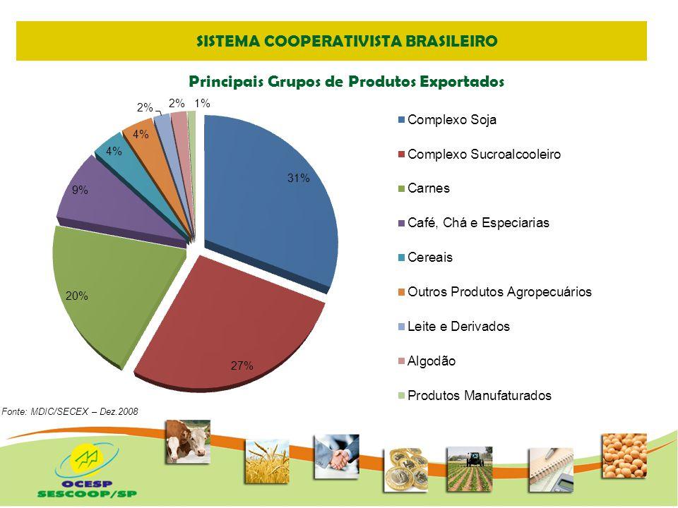 SISTEMA COOPERATIVISTA PAULISTA Fonte: MDIC/SECEX – Dez.2008/Elaborado OCESP