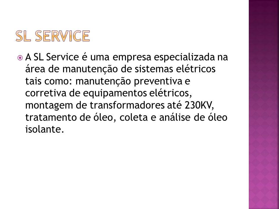 A SL Service possui equipamentos próprios 2 termo-vácuo – uma de 1000 L/H e uma de 3500 L/H; Bomba de vácuo; Tanque auxiliar; Ferramentas adequadas para as atividades; Instrumentos de ensaios: Medidor de fator de potencia, TTR, ôhmimetro e megger.