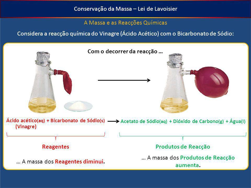 Conservação da Massa – Lei de Lavoisier A Massa e as Reacções Químicas Considera a reacção química do Vinagre (Ácido Acético) com o Bicarbonato de Sód