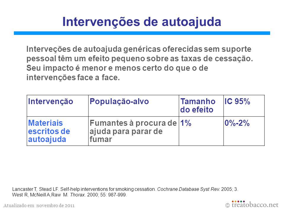 Atualizado em novembro de 2011 Intervenções de autoajuda Interveções de autoajuda genéricas oferecidas sem suporte pessoal têm um efeito pequeno sobre as taxas de cessação.