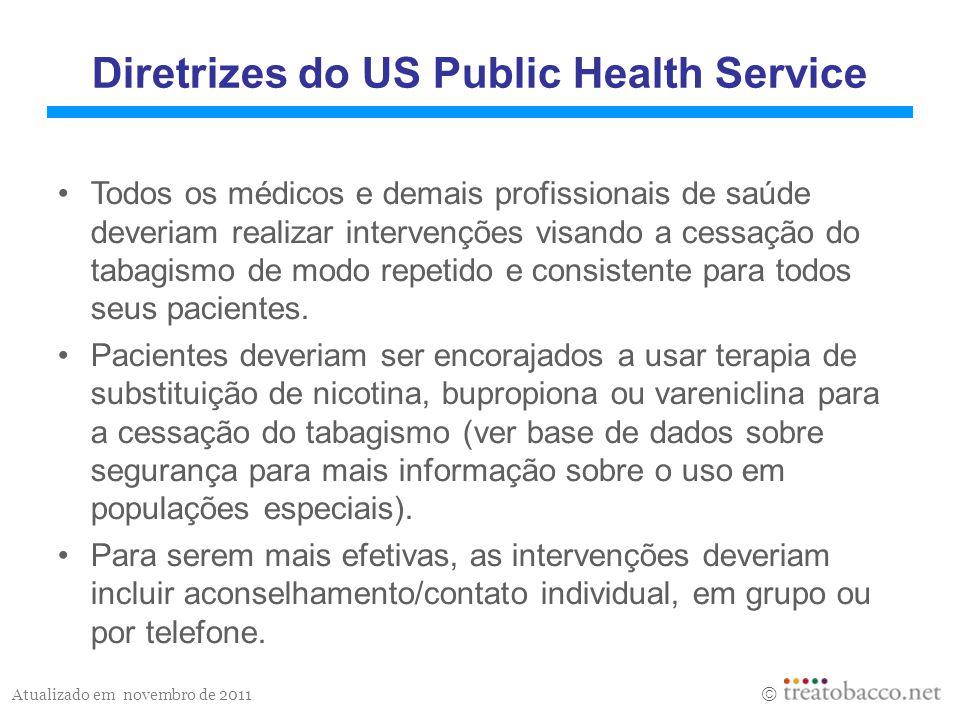Atualizado em novembro de 2011 Diretrizes do US Public Health Service Todos os médicos e demais profissionais de saúde deveriam realizar intervenções visando a cessação do tabagismo de modo repetido e consistente para todos seus pacientes.