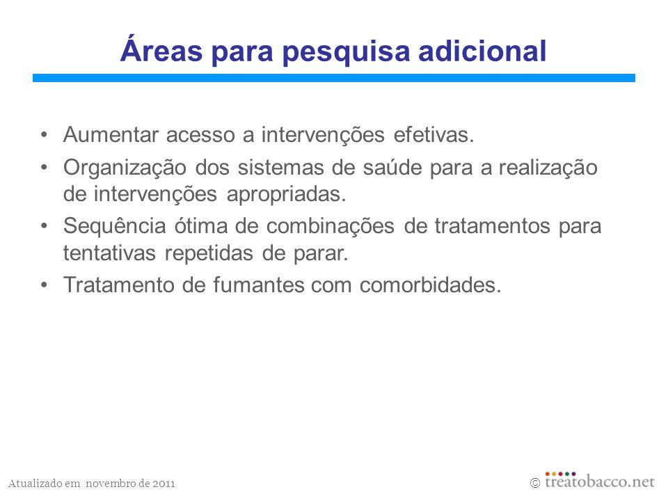 Atualizado em novembro de 2011 Áreas para pesquisa adicional Aumentar acesso a intervenções efetivas.