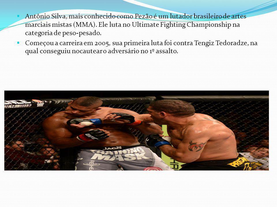 Antônio Silva, mais conhecido como Pezão é um lutador brasileiro de artes marciais mistas (MMA). Ele luta no Ultimate Fighting Championship na categor