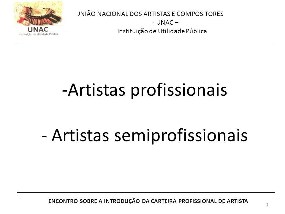 4 UNIÃO NACIONAL DOS ARTISTAS E COMPOSITORES - UNAC – Instituição de Utilidade Pública ENCONTRO SOBRE A INTRODUÇÃO DA CARTEIRA PROFISSIONAL DE ARTISTA -Artistas profissionais - Artistas semiprofissionais
