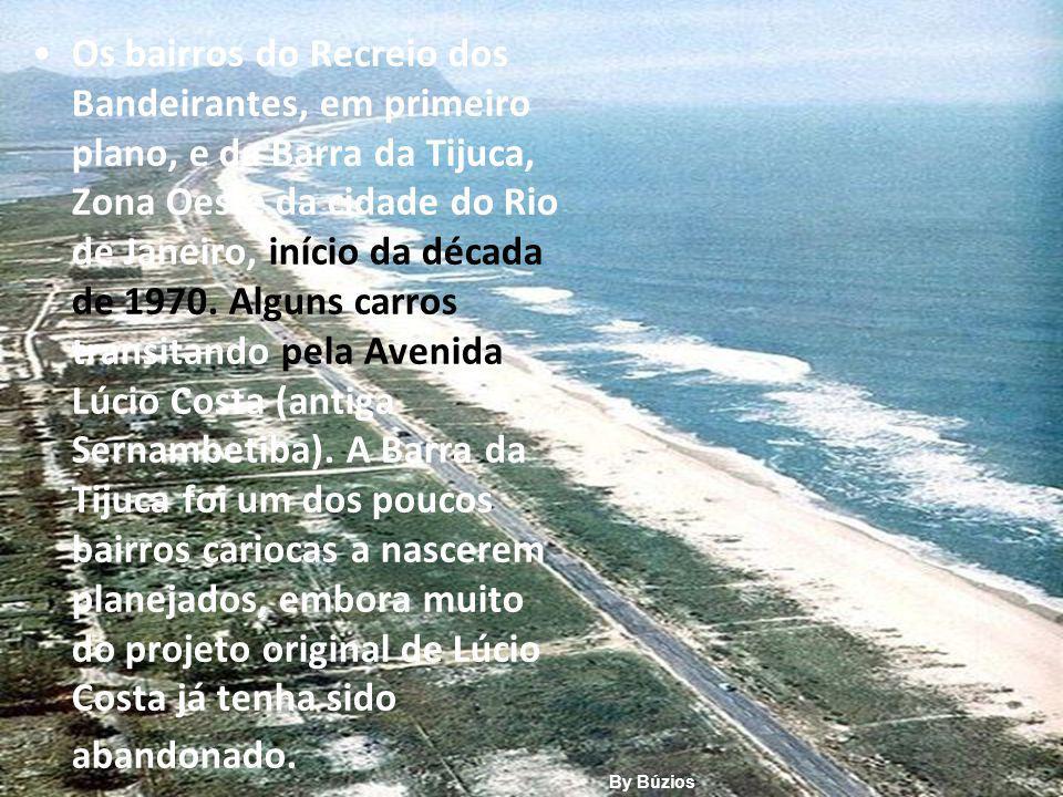Os bairros do Recreio dos Bandeirantes, em primeiro plano, e da Barra da Tijuca, Zona Oeste da cidade do Rio de Janeiro, início da década de 1970.