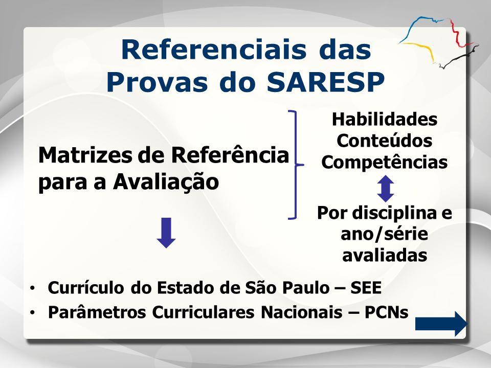 Matrizes de Referência para a Avaliação Referenciais das Provas do SARESP Habilidades Conteúdos Competências Por disciplina e ano/série avaliadas Curr