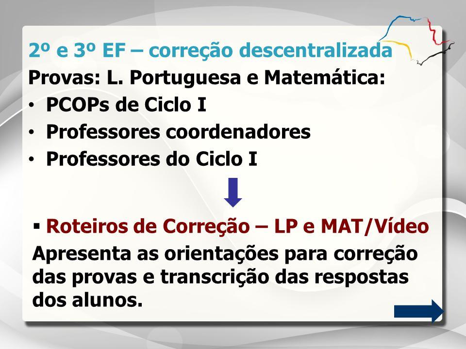 2º e 3º EF – correção descentralizada Provas: L. Portuguesa e Matemática: PCOPs de Ciclo I Professores coordenadores Professores do Ciclo I Roteiros d
