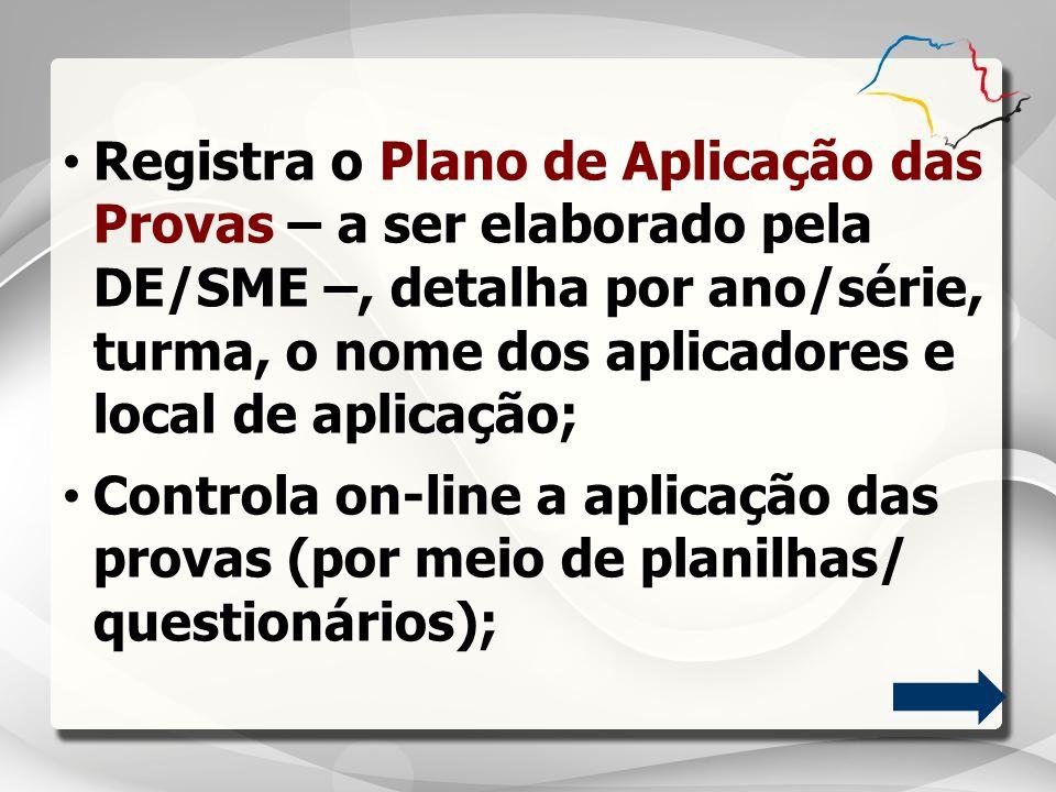 Registra o Plano de Aplicação das Provas – a ser elaborado pela DE/SME –, detalha por ano/série, turma, o nome dos aplicadores e local de aplicação; C