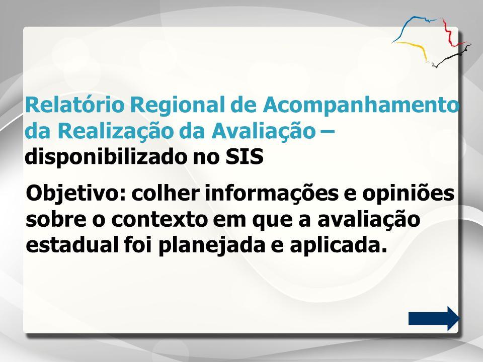 Relatório Regional de Acompanhamento da Realização da Avaliação – disponibilizado no SIS Objetivo: colher informações e opiniões sobre o contexto em q