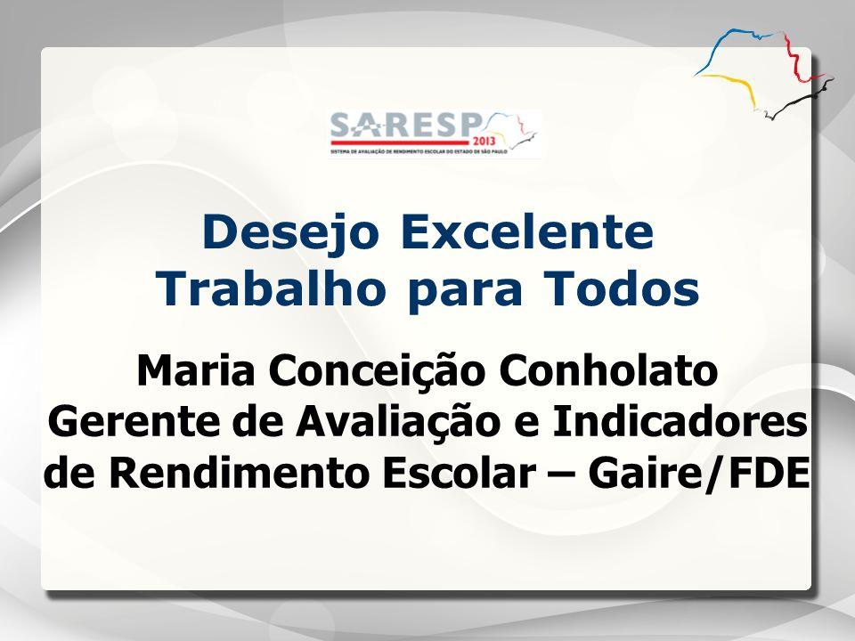 Maria Conceição Conholato Gerente de Avaliação e Indicadores de Rendimento Escolar – Gaire/FDE Desejo Excelente Trabalho para Todos