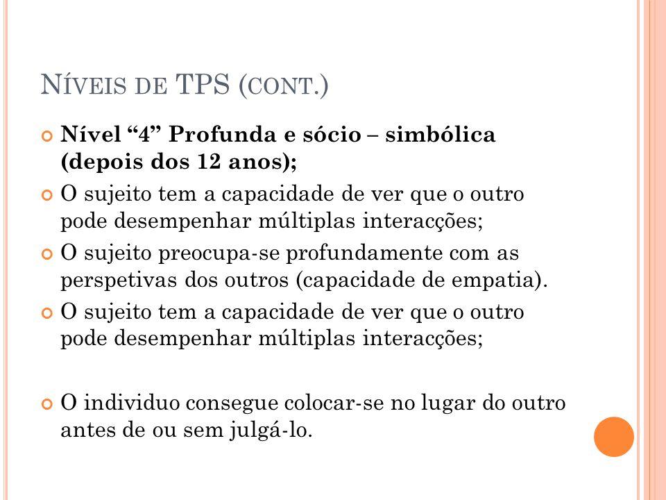 N ÍVEIS DE TPS ( CONT.) Nível 4 Profunda e sócio – simbólica (depois dos 12 anos); O sujeito tem a capacidade de ver que o outro pode desempenhar múlt