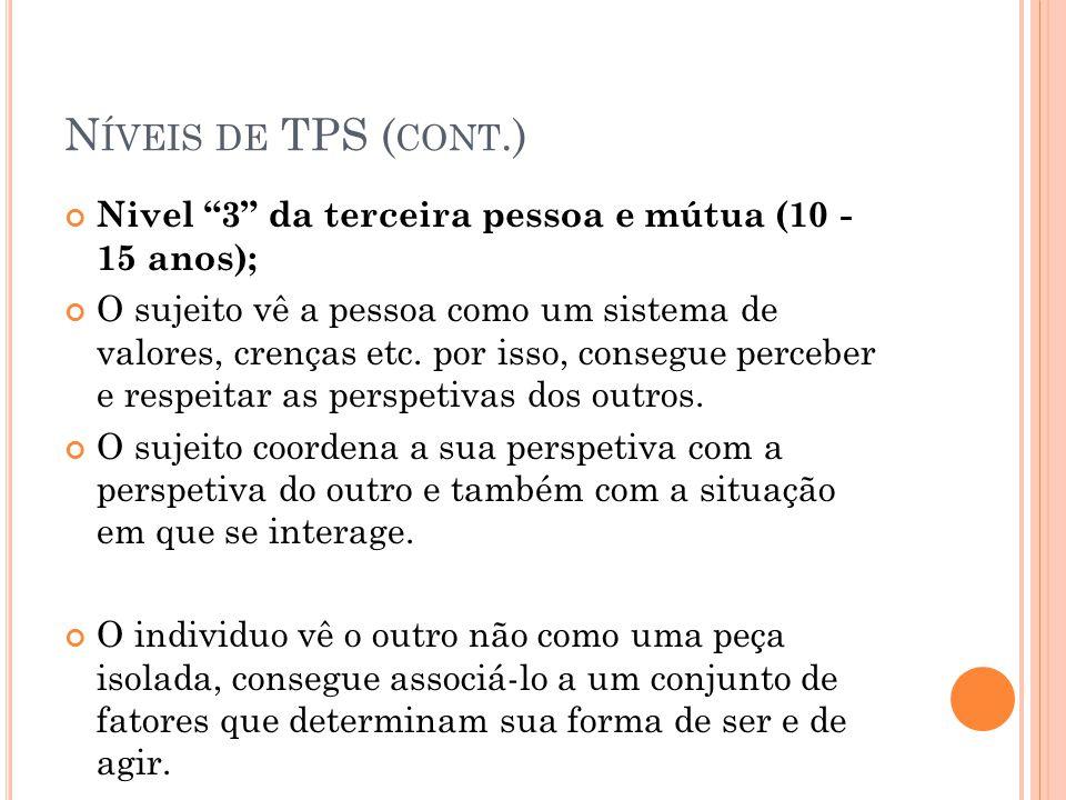 N ÍVEIS DE TPS ( CONT.) Nivel 3 da terceira pessoa e mútua (10 - 15 anos); O sujeito vê a pessoa como um sistema de valores, crenças etc. por isso, co