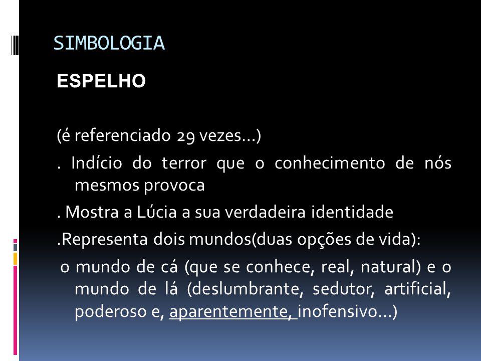 SIMBOLOGIA ESPELHO (é referenciado 29 vezes…). Indício do terror que o conhecimento de nós mesmos provoca. Mostra a Lúcia a sua verdadeira identidade.