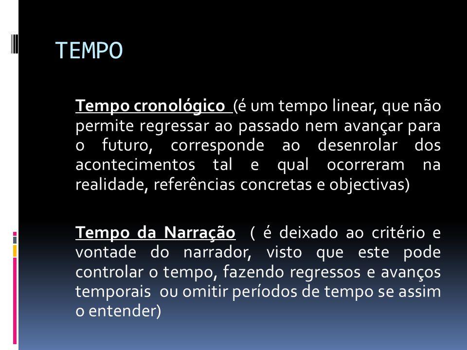 TEMPO Tempo cronológico (é um tempo linear, que não permite regressar ao passado nem avançar para o futuro, corresponde ao desenrolar dos aconteciment