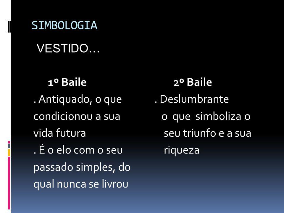 SIMBOLOGIA VESTIDO… 1º Baile2º Baile. Antiquado, o que. Deslumbrante condicionou a sua o que simboliza o vida futura seu triunfo e a sua. É o elo com