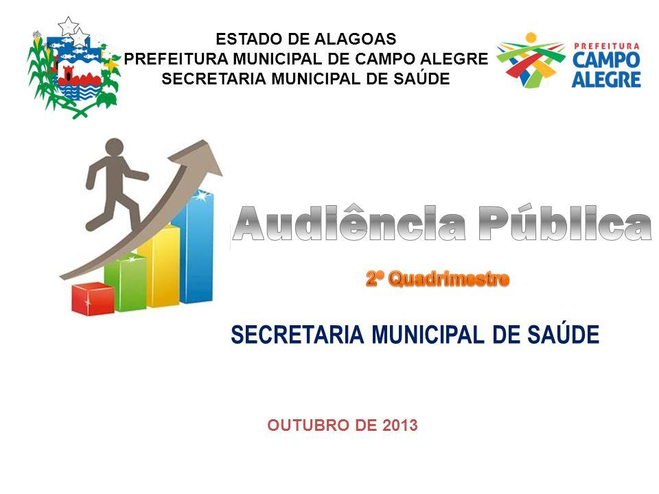 ESTADO DE ALAGOAS PREFEITURA MUNICIPAL DE CAMPO ALEGRE SECRETARIA MUNICIPAL DE SAÚDE OUTUBRO DE 2013 SECRETARIA MUNICIPAL DE SAÚDE