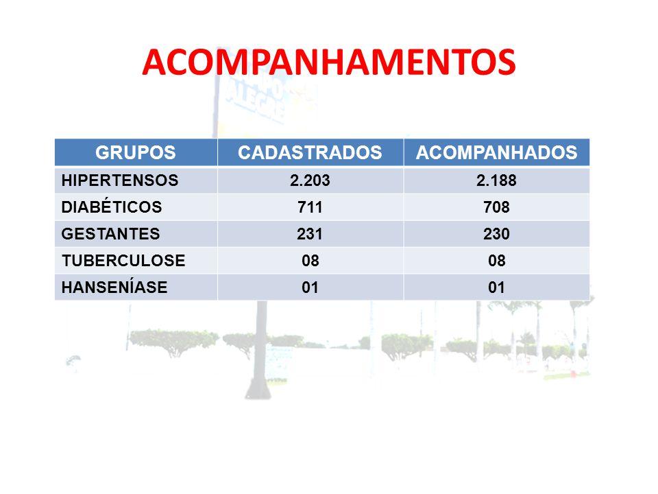 ACOMPANHAMENTOS GRUPOSCADASTRADOSACOMPANHADOS HIPERTENSOS2.2032.188 DIABÉTICOS711708 GESTANTES231230 TUBERCULOSE08 HANSENÍASE01