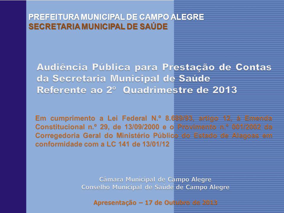 PREFEITURA MUNICIPAL DE CAMPO ALEGRE SECRETARIA MUNICIPAL DE SAÚDE