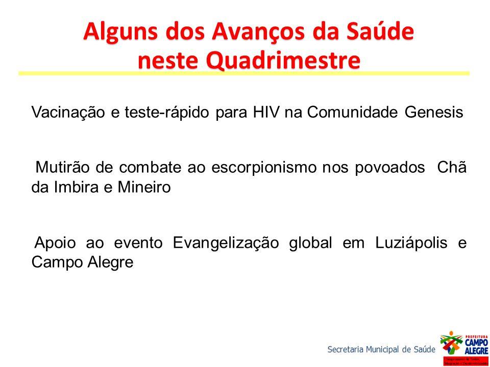 Vacinação e teste-rápido para HIV na Comunidade Genesis Mutirão de combate ao escorpionismo nos povoados Chã da Imbira e Mineiro Apoio ao evento Evang