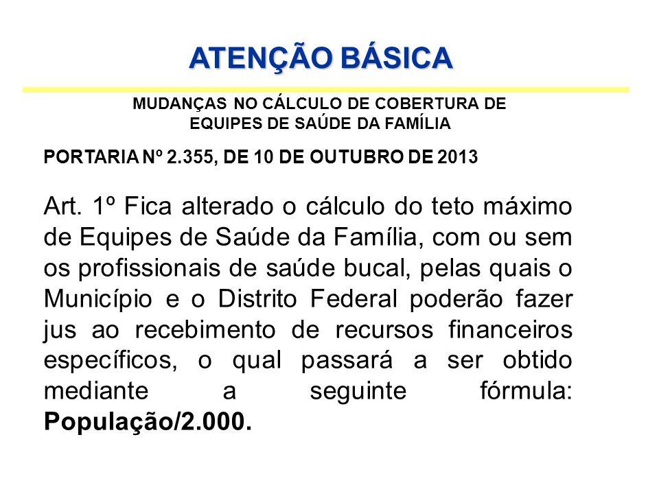 TAXA DE COBERTURA DA ATENÇÃO BÁSICA JANEIRO DE 2013 MAIO DE 2013 OUTUBRO DE 2013 Nº DE ESF TAXA DE COBERTURA(%) Nº DE ESF TAXA DE COBERTURA(%) Nº DE ESF TAXA DE COBERTURA(%) 0725,9%1037%1140,7% ATENÇÃO BÁSICA / TAXA DE COBERTURA Média de Cálculo para 100%: 55.161/2.000= 27 ESF