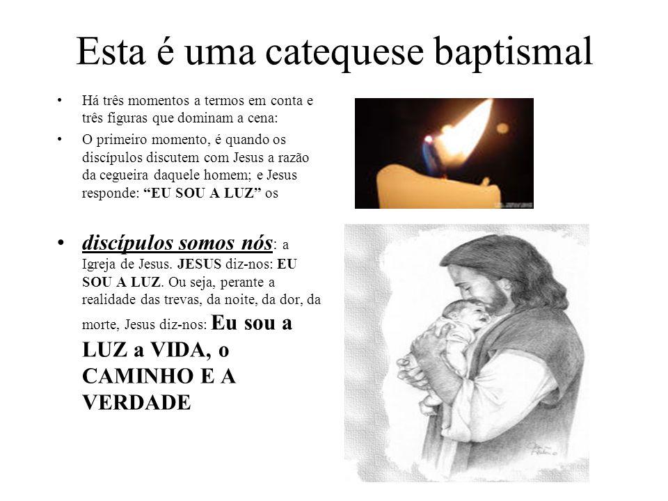 Esta é uma catequese baptismal Há três momentos a termos em conta e três figuras que dominam a cena: O primeiro momento, é quando os discípulos discut