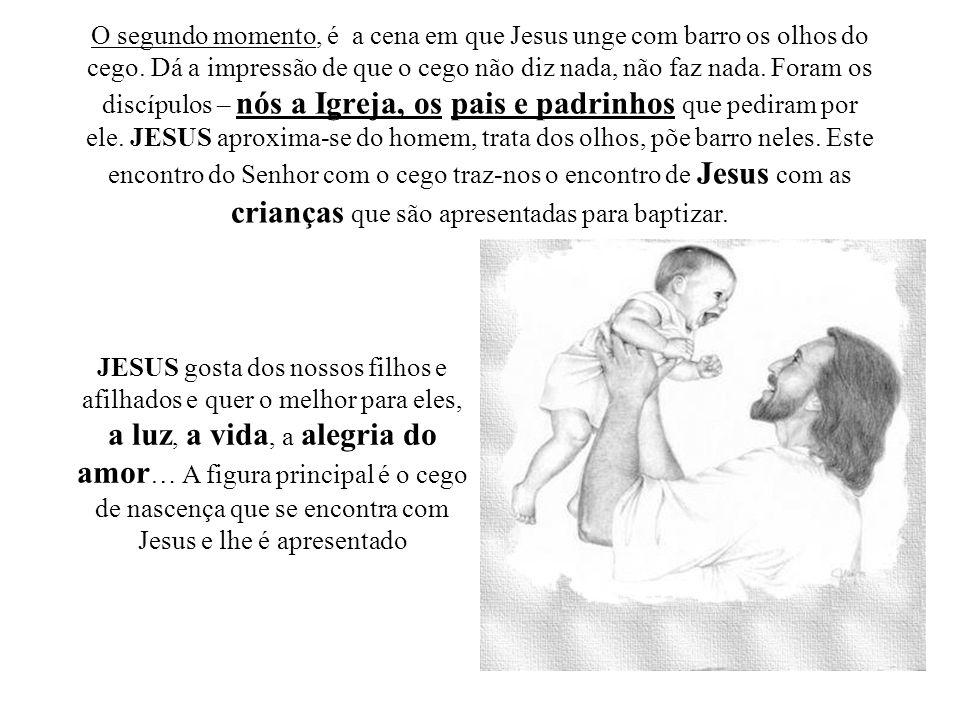 O segundo momento, é a cena em que Jesus unge com barro os olhos do cego. Dá a impressão de que o cego não diz nada, não faz nada. Foram os discípulos
