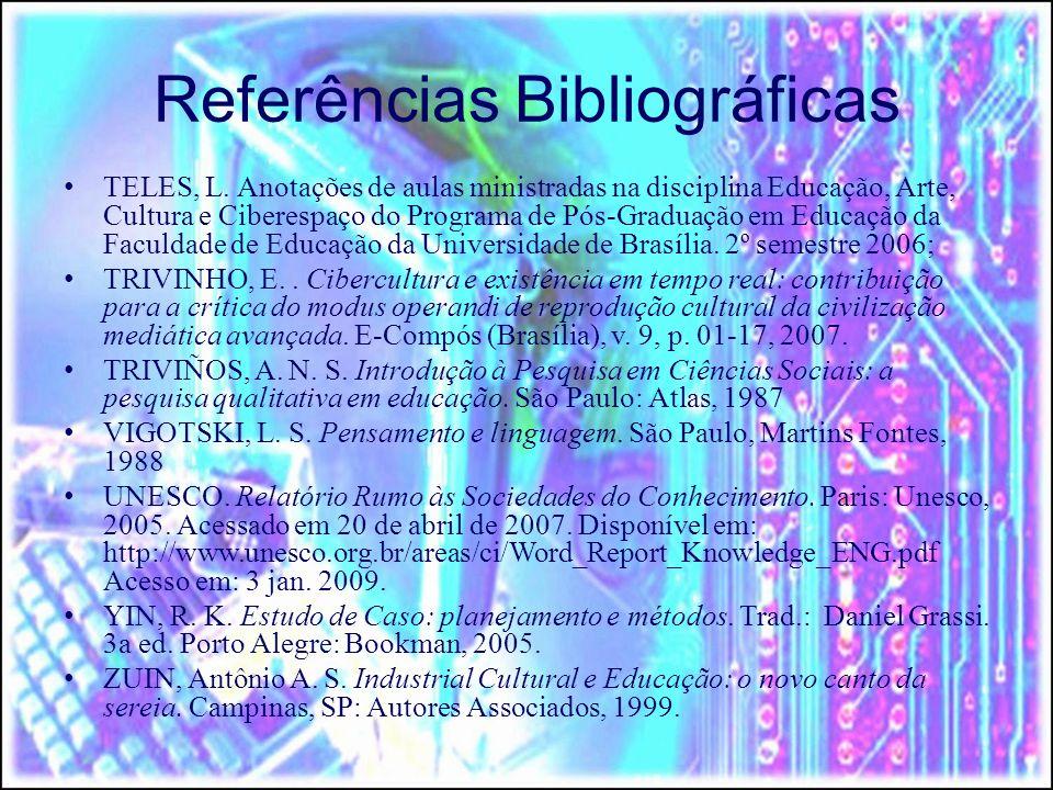 Referências Bibliográficas TELES, L. Anotações de aulas ministradas na disciplina Educação, Arte, Cultura e Ciberespaço do Programa de Pós-Graduação e