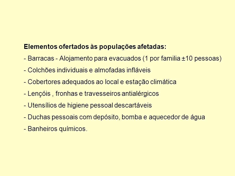 Elementos ofertados às populações afetadas: - Barracas - Alojamento para evacuados (1 por familia ±10 pessoas) - Colchões individuais e almofadas infláveis - Cobertores adequados ao local e estação climática - Lençóis, fronhas e travesseiros antialérgicos - Utensílios de higiene pessoal descartáveis - Duchas pessoais com depósito, bomba e aquecedor de água - Banheiros químicos.