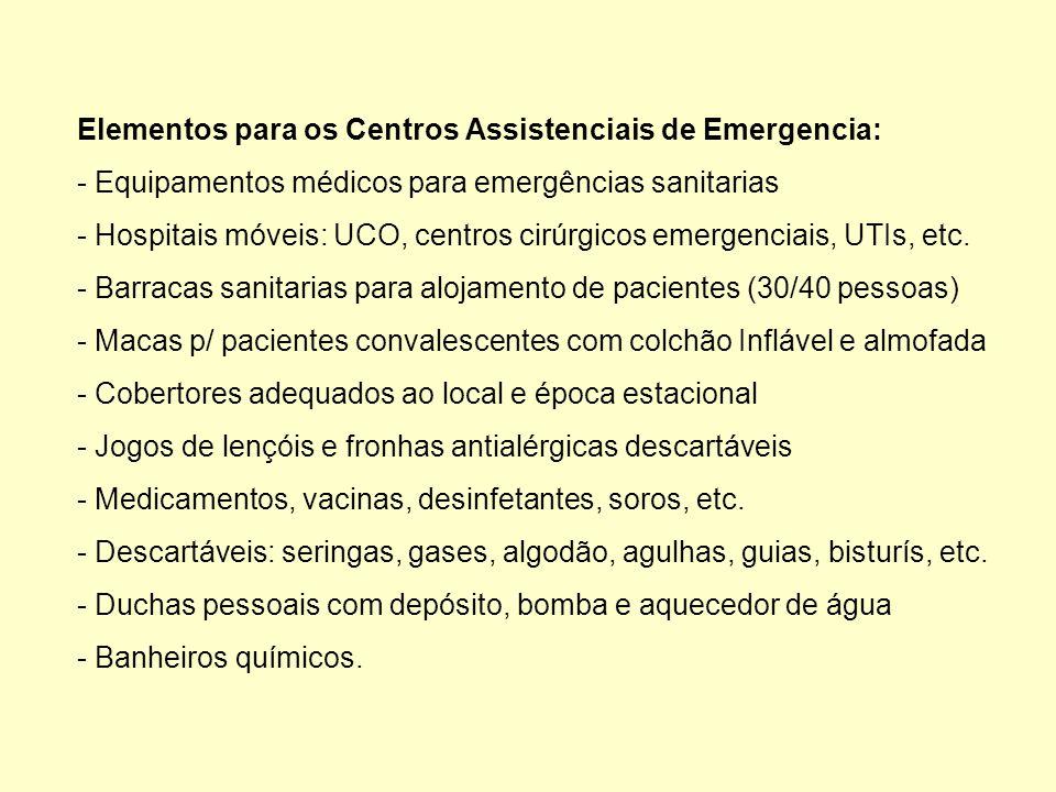 Elementos para os Centros Assistenciais de Emergencia: - Equipamentos médicos para emergências sanitarias - Hospitais móveis: UCO, centros cirúrgicos emergenciais, UTIs, etc.