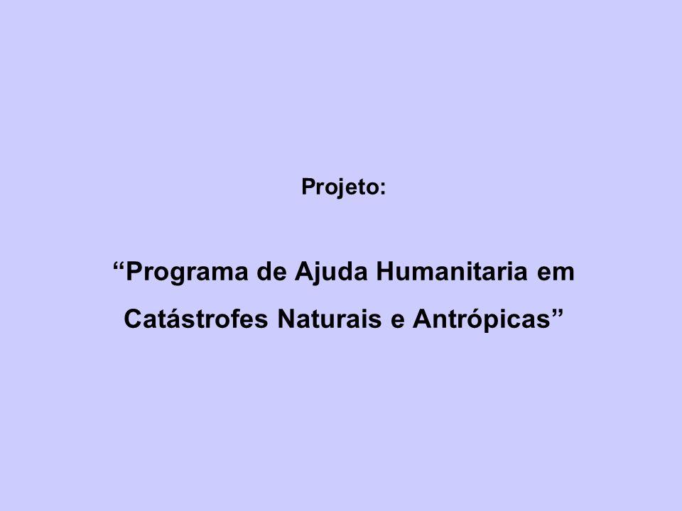 Projeto: Programa de Ajuda Humanitaria em Catástrofes Naturais e Antrópicas