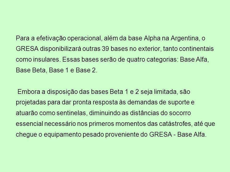 Para a efetivação operacional, além da base Alpha na Argentina, o GRESA disponibilizará outras 39 bases no exterior, tanto continentais como insulares.